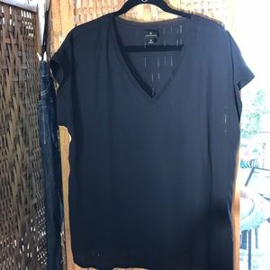 Worthington Black Woven V-Neck Blouse
